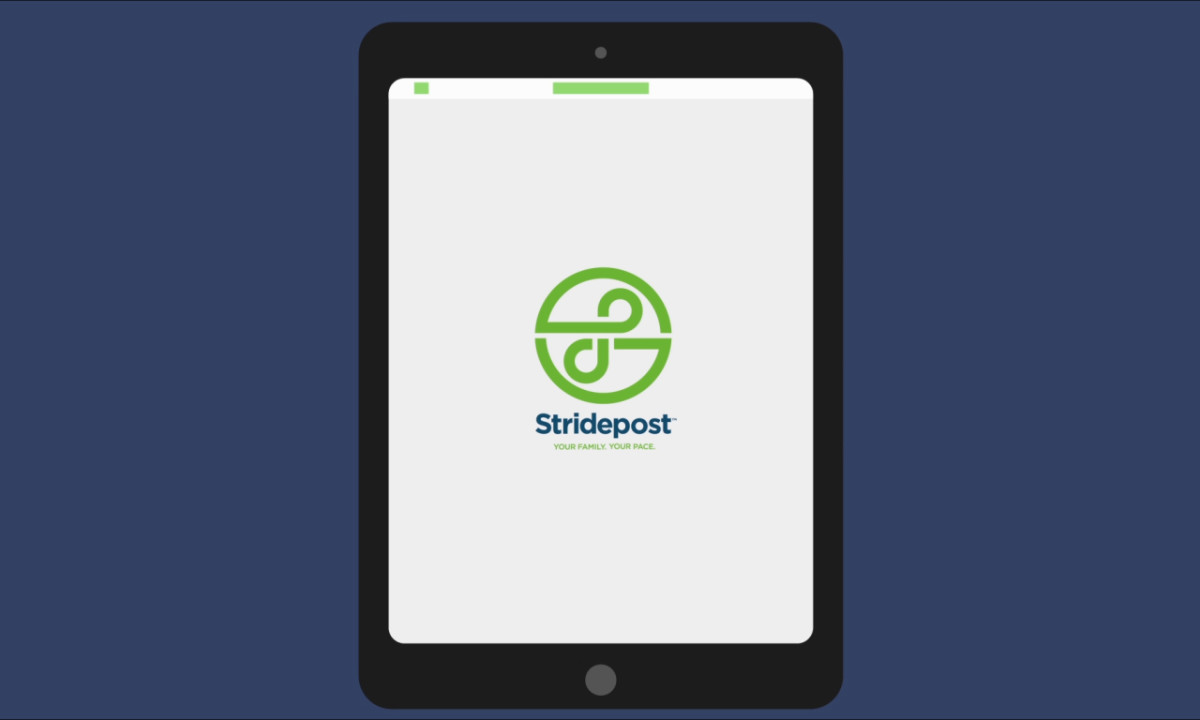 Stridepost Logo on Tablet Computer