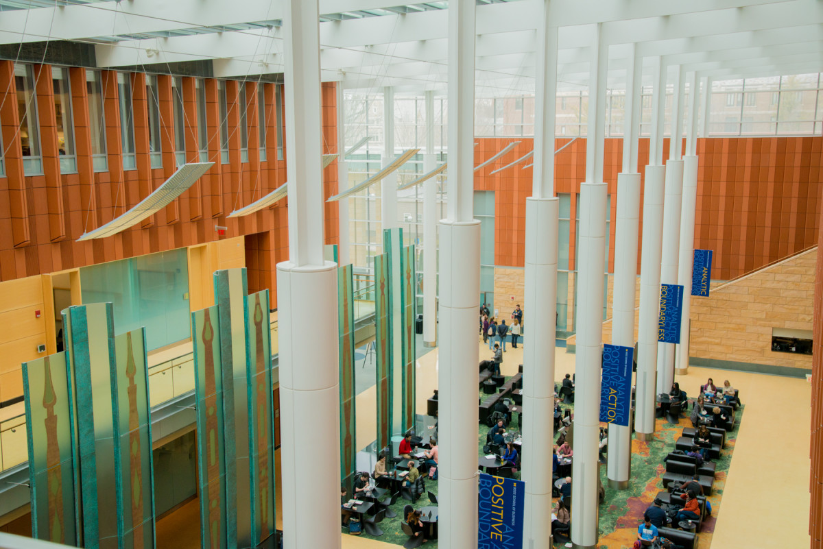 Interior of Ross Business School, view from ceiling.